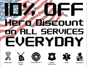 Military Discount, First Responder Discout, Teacher Discount, Veteran Discount